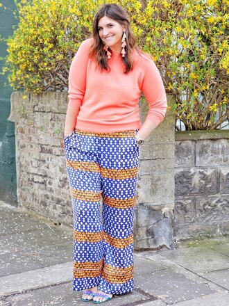 fashion foie gras blogger sweater pants jewels pink sweater plus size spring outfits