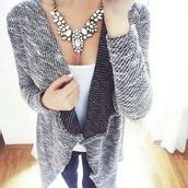 sweater,grey,waterfall back,waterfall cardigan,waterfall blazer,heather grey,charcoal,wrap sweater