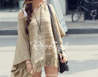 sweater dress fringes fringed top fringed sweater cape knitwear knitted cardigan knitted sweater off the shoulder casual streetwear creme beige back to school fall outfits fall sweater autumn/winter fashion winter outfits winter sweater sweater dress knitted cape