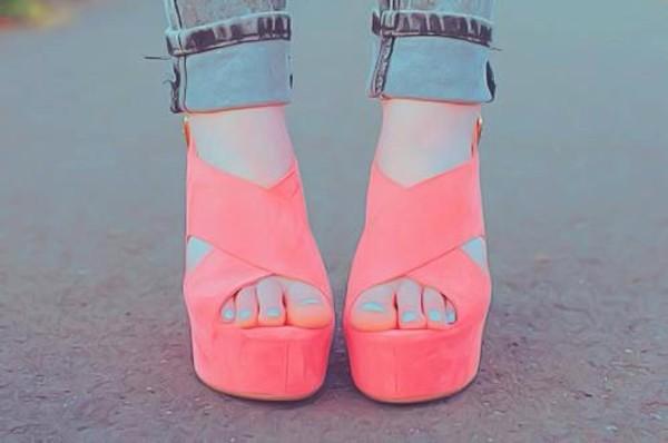 shoes la couleur est corail chaussures talons hauts été