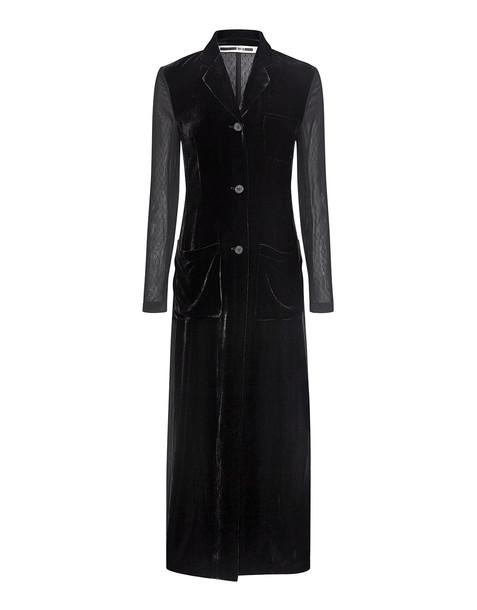 McQ Alexander McQueen coat long coat long sheer black velvet