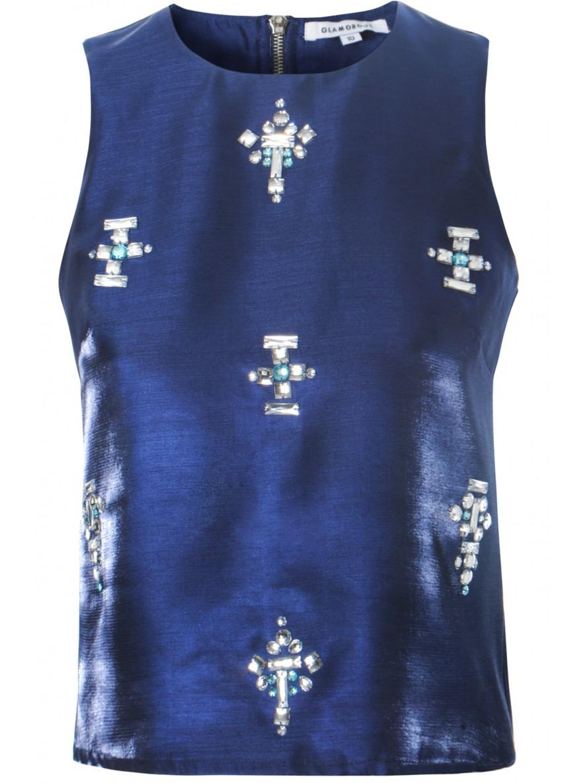 Navy embellished satin top