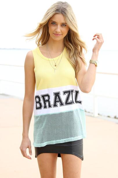 e124d9dade tank top, top, brazil, tank top, t-shirt, beach, cover up - Wheretoget