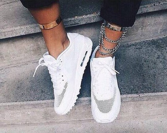 shoes nike sneakers white jewels