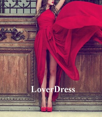 red dress long dress slit one shoulder tie chiffon prom dress gown red long prom dress