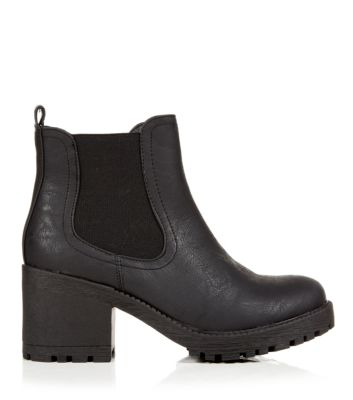 Black Chunky Cleated Sole Chelsea Boots