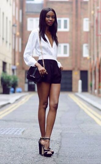 blouse top shirt white long sleeves shorts black high heels shoes bag v neck plunge v neck plunge neckline summer summer outfits streetstyle perfect beautiful romper fashion british block heels chain bag