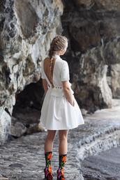 dress,tumblr,mini dress,white dress,open back,open back dresses,backless,backless dress,boots,sock boots,floral,floral boots,shoes