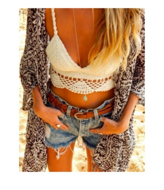 tank top white t-shirt knitted sweater crop tops cropped sweater shorts belt