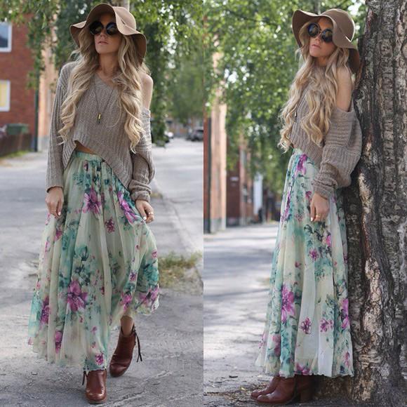 skirt maxi skirt floral hipster floral skirt chiffon long cardigan