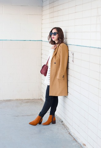 adventures in fashion blogger mid heel boots camel coat