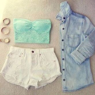 top mint white shorts accessories denim shirt crop tops