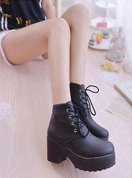 shoes chunky platform ankle boots