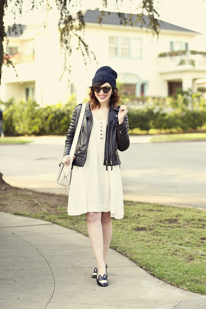 keiko lynn blogger loafers leather jacket white dress
