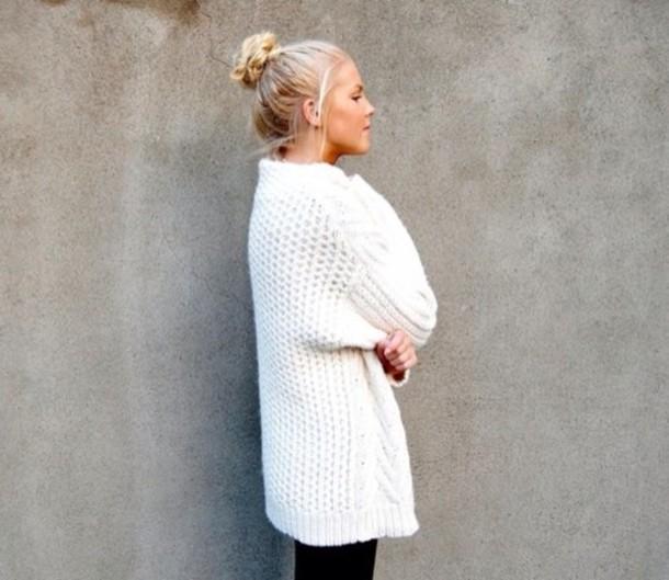 Sweater Winter Sweater Warm Sweater White Cream Sweater Cable