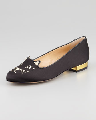 Charlotte Olympia Kitty Cat Satin Flat Slipper, Black - Neiman Marcus