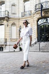 top,white jeans,tumblr,white top,eyelet detail,eyelet top,jeans,denim,shoes,mules,bag,mini bag,handbag,sunglasses