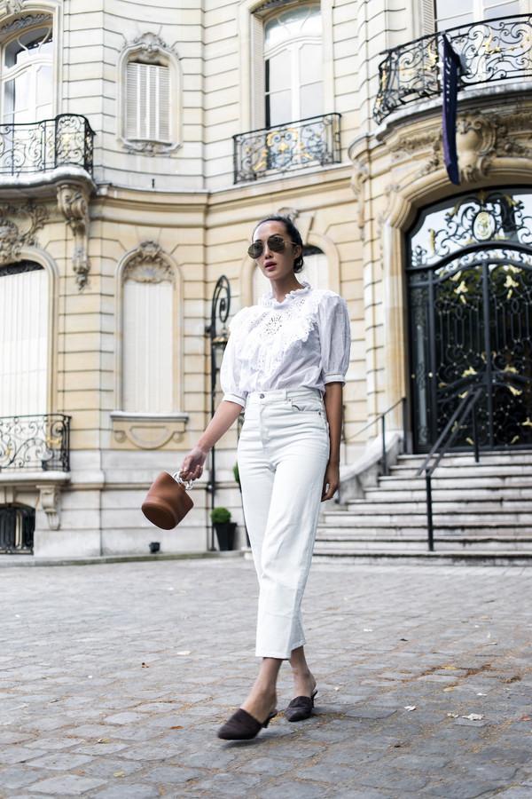 top white jeans tumblr white top eyelet detail eyelet top jeans denim shoes mules bag mini bag handbag sunglasses