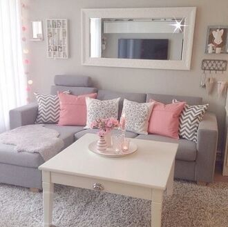 home accessory grey pink cute pillow white mirror couch lifestyle sweet room accessoires home decor cozy girly beach house small