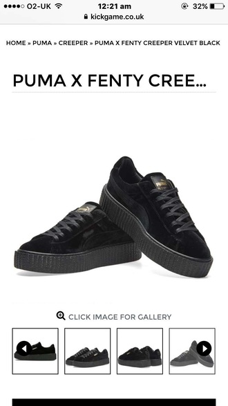 shoes puma suede black creepers