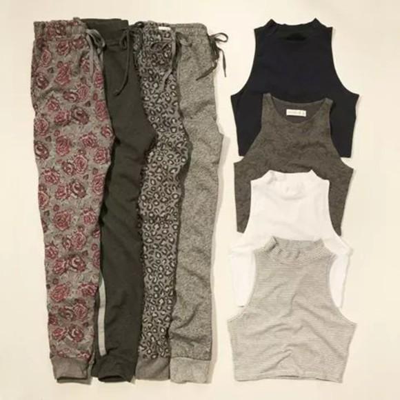harem trill sweatpants gray pants joggers sweats crop tops