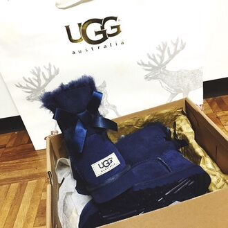 shoes boots ugg boots ugg australia cute shoes cute bows dark blue marine girly australian made australian brand
