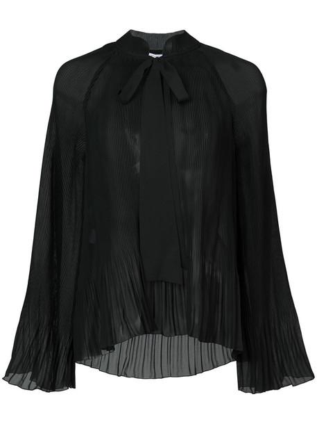 DEREK LAM 10 CROSBY blouse pleated women black top