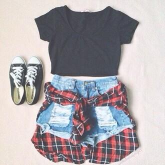 shorts black top flannel shirt plaid shirt flannel