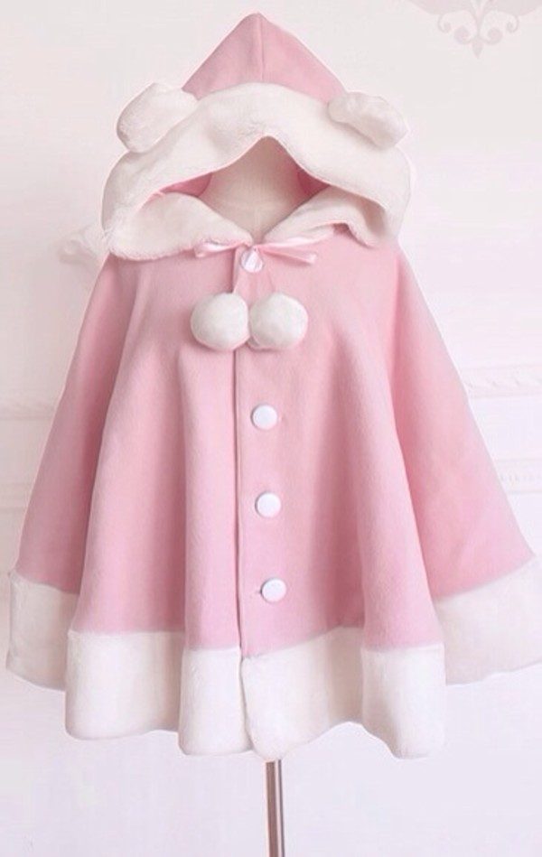 coat jacket pink cute poncho ears hood cloak girly