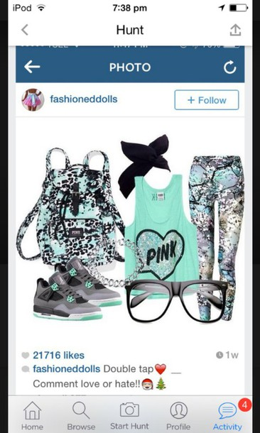 shoes jordans tank top headband backpack leggings aqua bag blouse hair accessory jewels pants shirt sunglasses top
