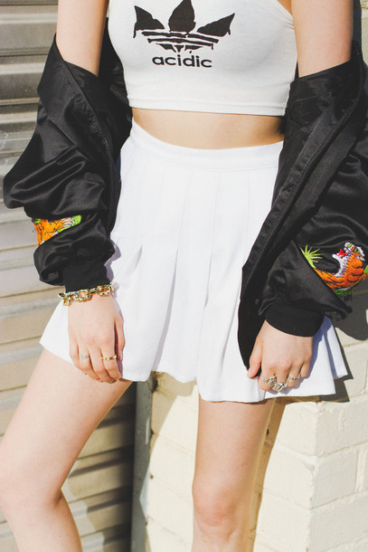 shirt acid wash skirt silk jacket adidas dripping lettering white crop tops jacket tank top crop tops cool indie acidic hot fashion vibe fashion l.a. style top adidas grunge grunge