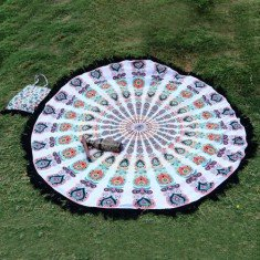 Elephant Mandala round Beach Throw Tapestry