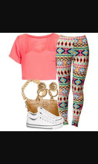 tights whole outfit.. leggings crop tops converse top aztec