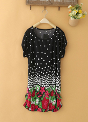 top,black tunic top with white dots on it