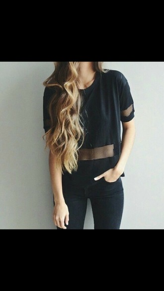blouse black sheer t-shirt love black shirt alex blonde hair blond hair make-up on fleek