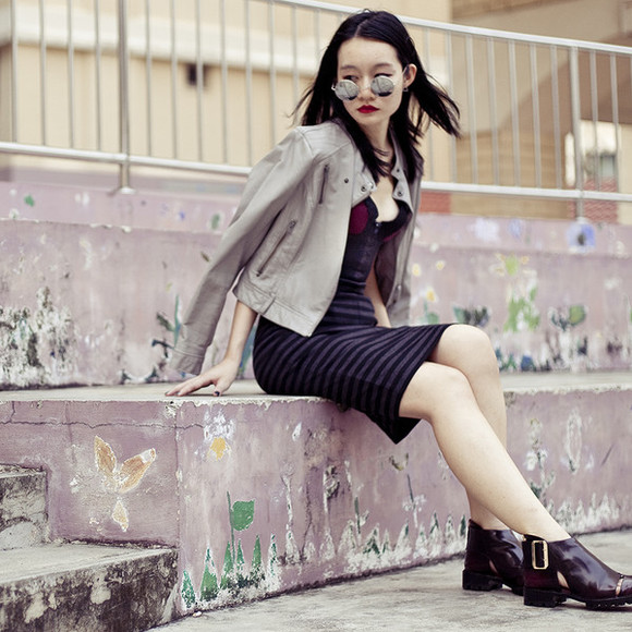 jeffrey campbell jacket pupuren blogger jewels stripes mirrored sunglasses