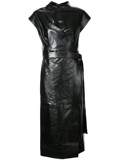 dress wrap dress women leather black