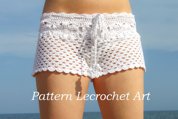 Crochet pattern white beach shorts and shorts by LecrochetArt