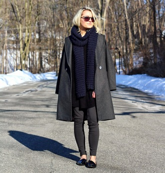 platinum and penniless blogger leggings grey coat charcoal knitted scarf