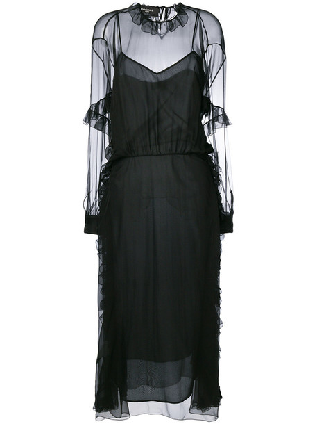 Rochas dress sheer women black silk