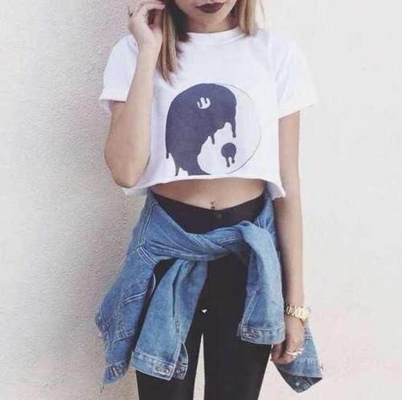 crop tops t-shirt white shirt crop shirt crop crop tops yin yang yang yin yang black and white white and black