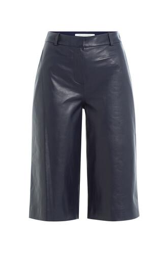 culottes leather blue pants