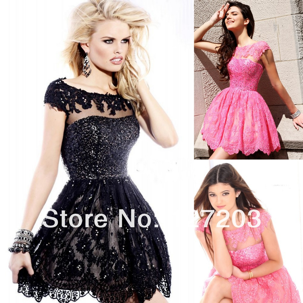 Free Shipping High Cap Sleeve Appliques Backless Mini A Line Lace ...