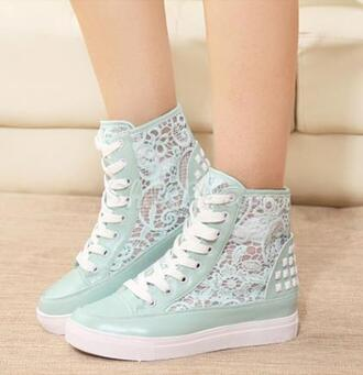 shoes sneakers high tops mint mint shoes mint sneakers lace lace sneakers