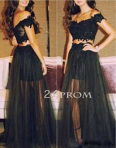 Black Lace Tulle 2 Pieces Long Prom Dresses, Evening Dress - 24prom