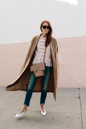 could i have that,blogger,coat,shirt,bag,sunglasses,jeans,shoes