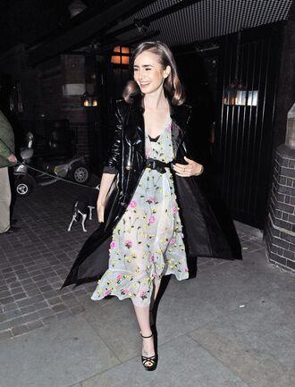dress floral sandals coat midi dress lily collins belt see through dress