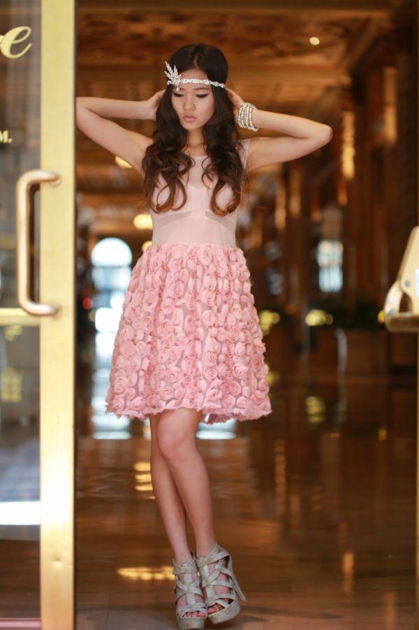 dress pink dress roses jewels