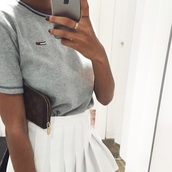 top,t-shirt,tumblr outfit,tumblr shirt,skirt,style,fashion,tommy hilfiger shirt,tommy hilfiger,grey t-shirt,shirt,iphone