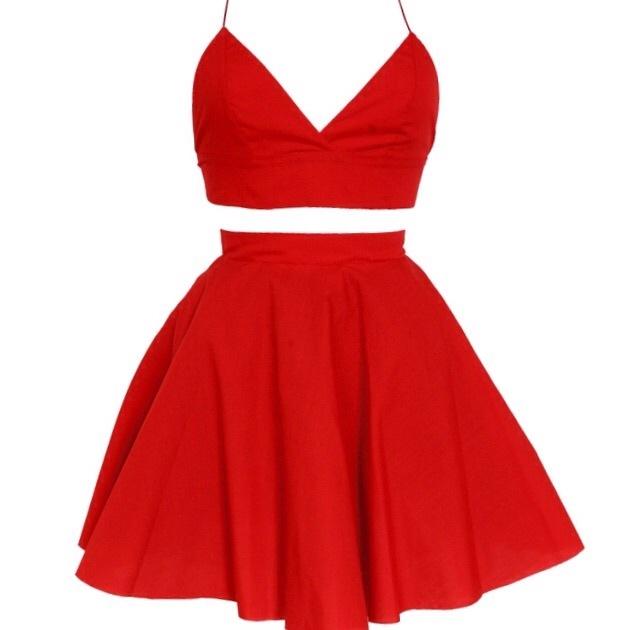 Red Crop Top Dress